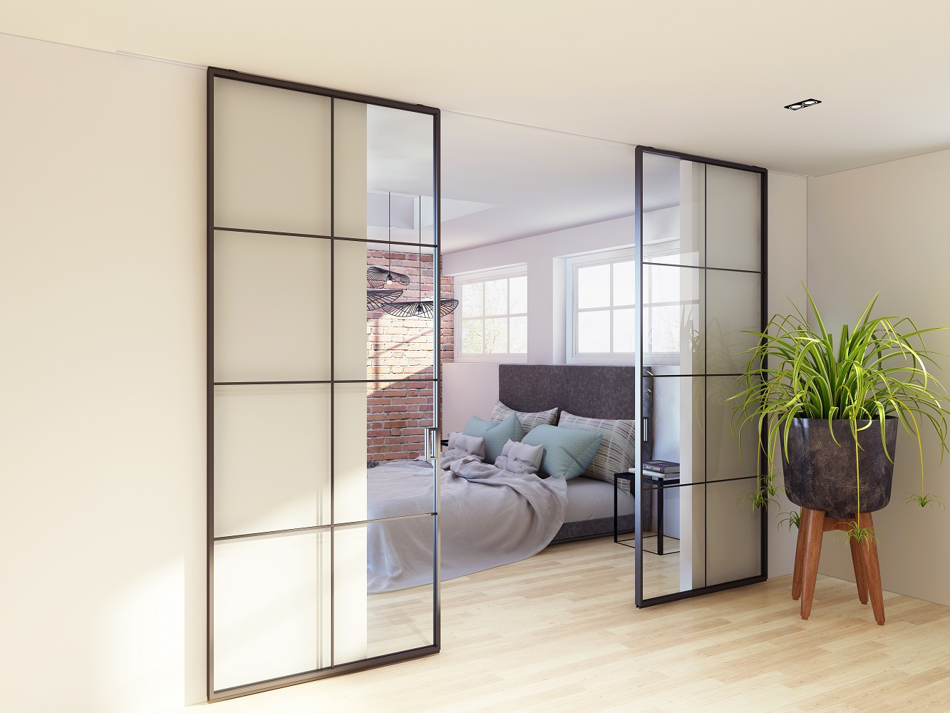 Schiebetür aus Metall und Glas, Glasschiebetür von Loft Tür