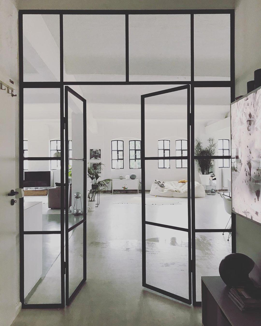 Offene Glastür / Doppeltür aus Stahl und Glas von Loft Tür