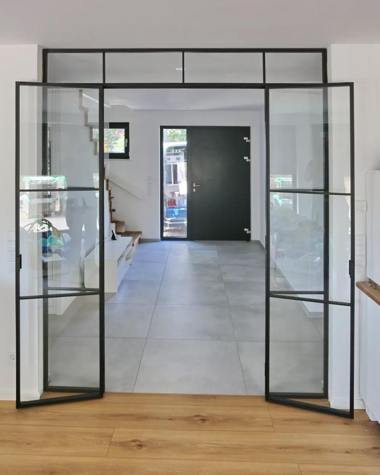 Doppeltür aus Glas, Premium Glas-Schiebetür