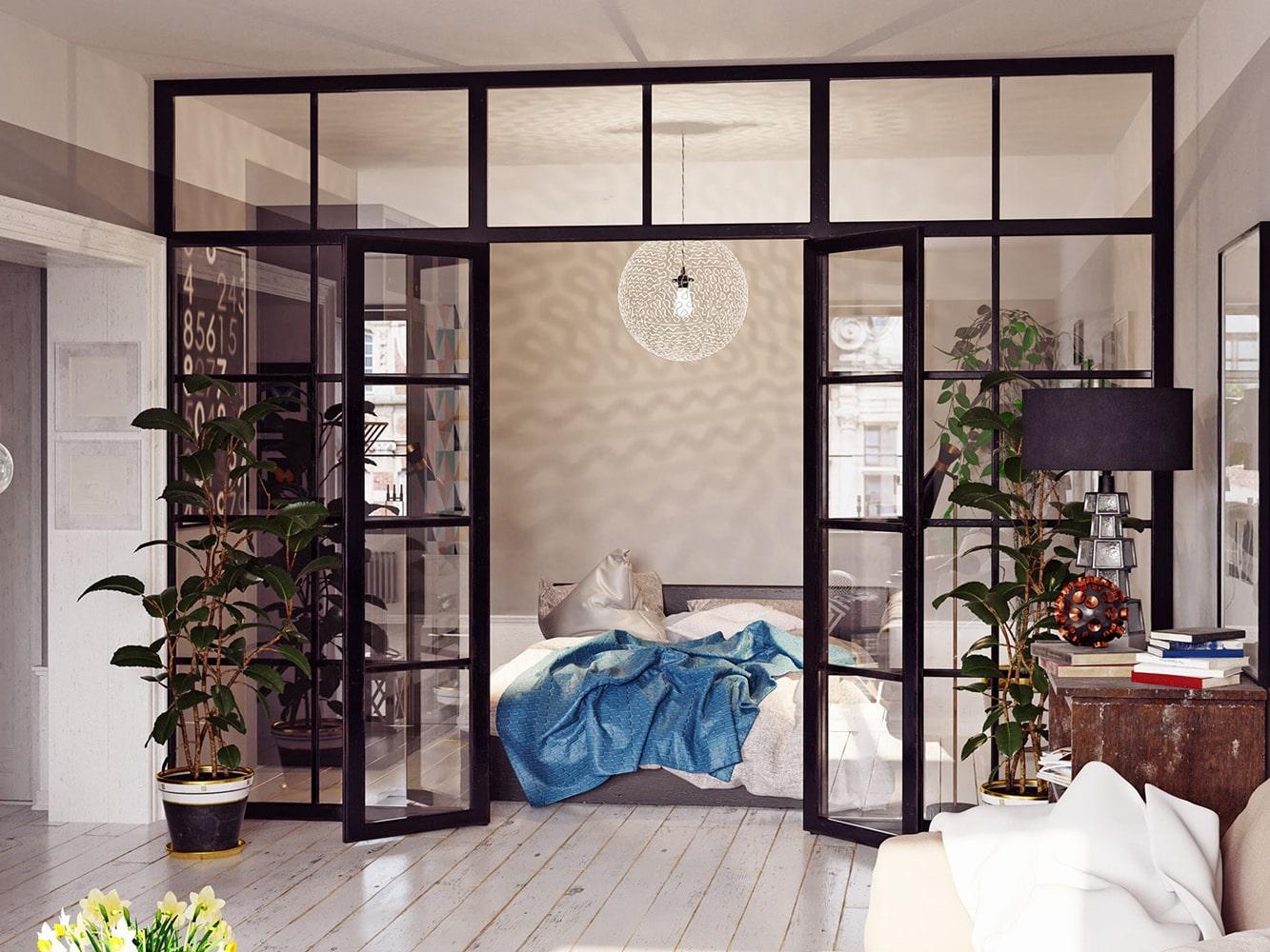 Doppeltür im Loft Stil - Raumtrenner für Schlafzimmer