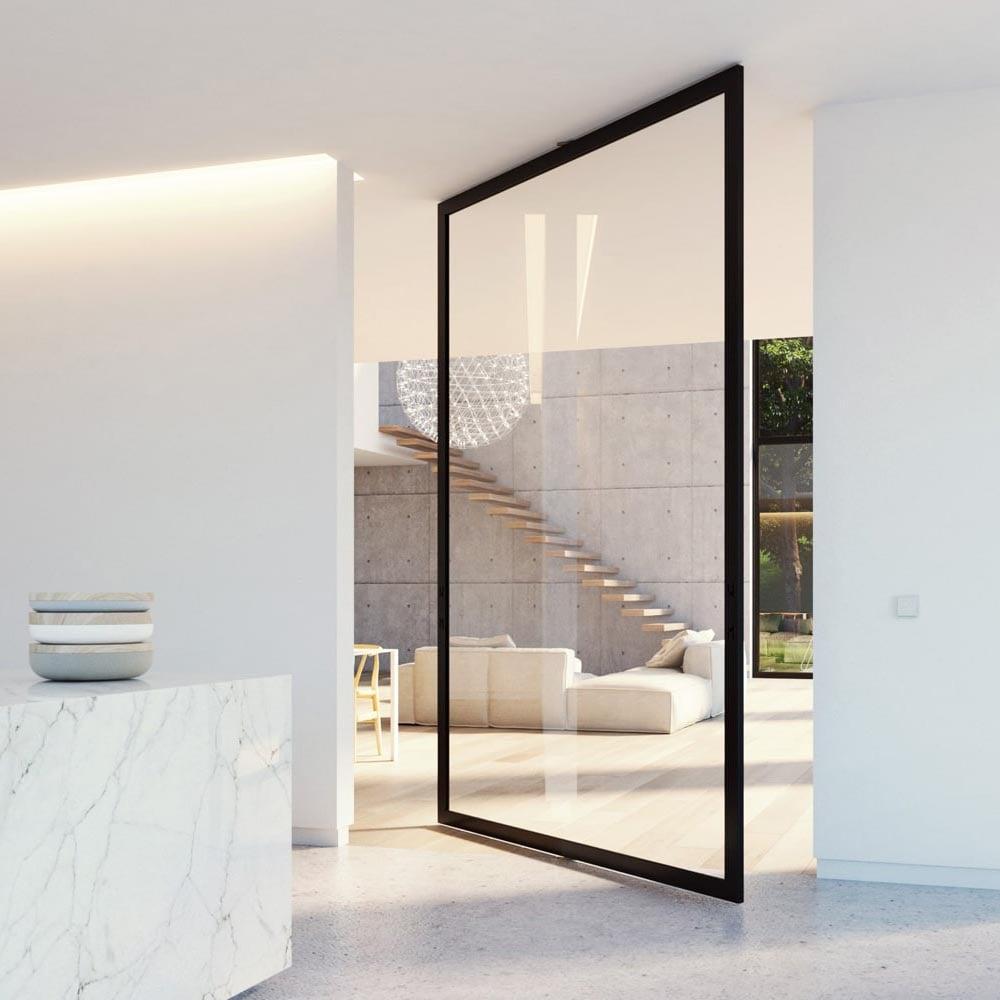 Pivottür, Drehtür aus Glas und Stahl