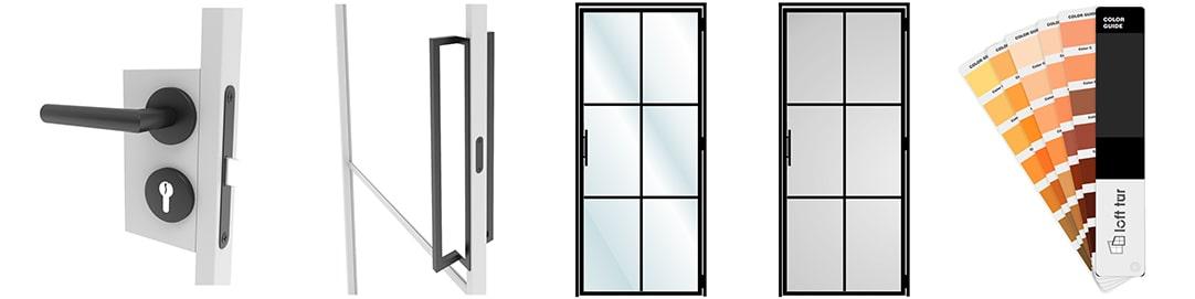 Produktdetails: Türgriffe, Rahmenfarbe und Glasarten